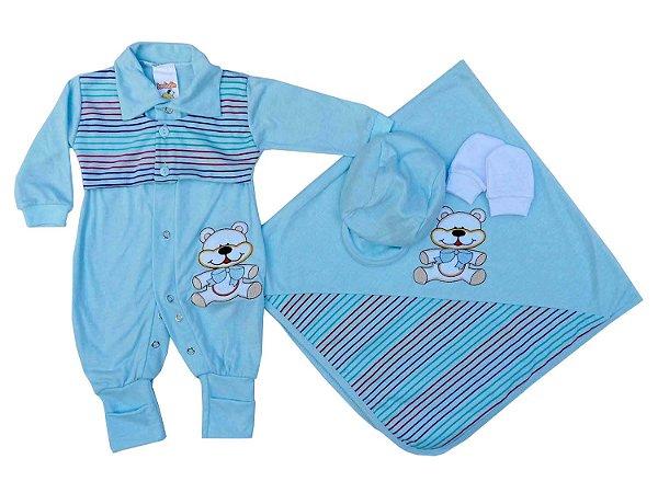 Saída de Maternidade Menino Azul Claro e Listrado Ursinho - Mary Baby 3a6e313b2a7