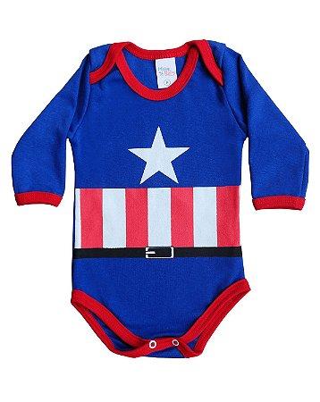 Body Infantil Manga Longa Capitão América - Mary Baby 7f045b8f85b