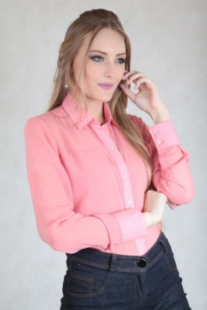 Camisa Lisa Salmão Manga Longa