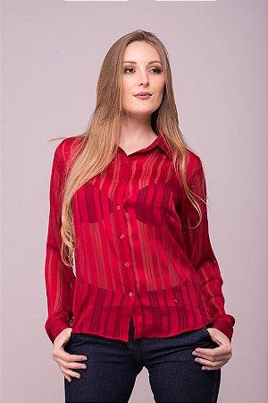Camisa Feminina Chiffon Listrada Vermelha
