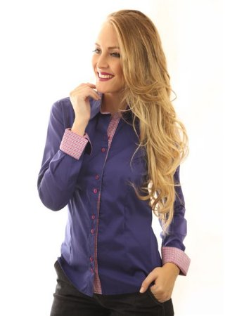 Camisa Feminina Social Lisa Azul Carbono