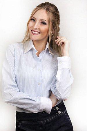 Camisa Feminina Social Listrada Juan Azul