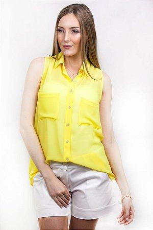 Camisa Amarela Voil sem Manga