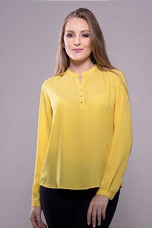 Camisa Bata Botões Pérola Amarelo