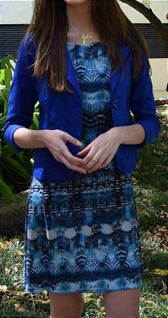 Vestido de Malha Fria Estampado Azul Degrade