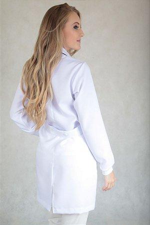 Jaleco Branco Feminino Gola Padre c/ Punho Especial