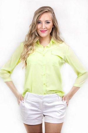 Camisa Social Chiffon Verde Limão