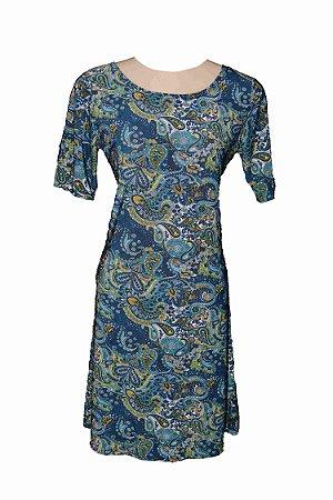 Vestido de Malha Fria Estampado Azul Místico