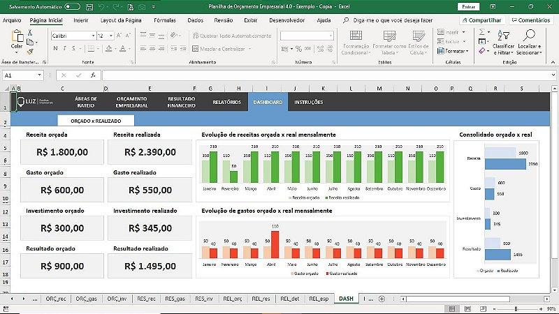 Planilha de Orçamento Empresarial em Excel 4.0