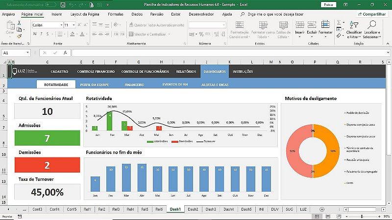 Planilha de Indicadores de Recursos Humanos em Excel 4.0