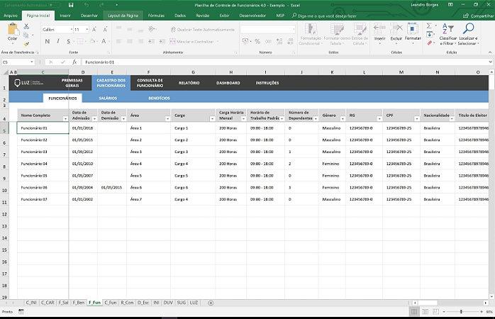 Planilha de Cadastro e Controle de Funcionários em Excel 4.0