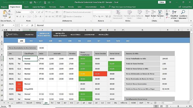 Planilha de Horas Extras com Banco de Horas em Excel 4.0