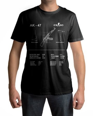 Camiseta CS:GO Counter Strike AK-47 Specs