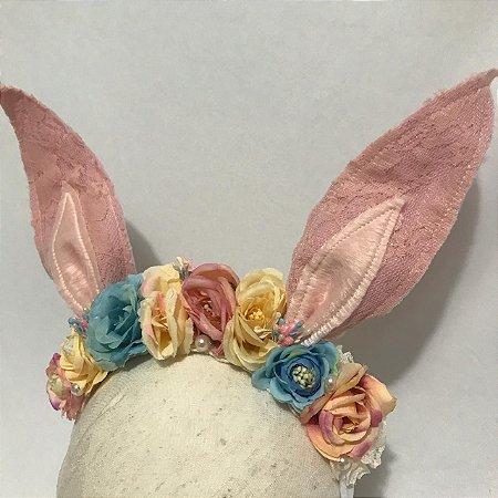 Headbnd de coelho vintage floral Eduarda