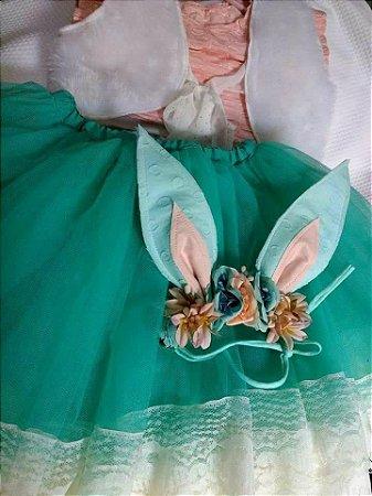 Saia, cropped, colete e headband páscoa floral Karina