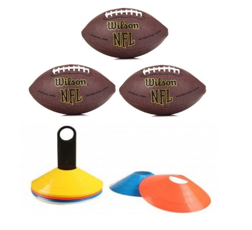 Kit treino: 3 Bolas Wilson NFL Super Grip  Oficial + 20 Mini cones de agilidade