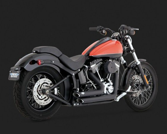 Escapamento Vance & Hines Shortshots Staggered Black 47225 para Harley Davidson Softails 2012 - 2017
