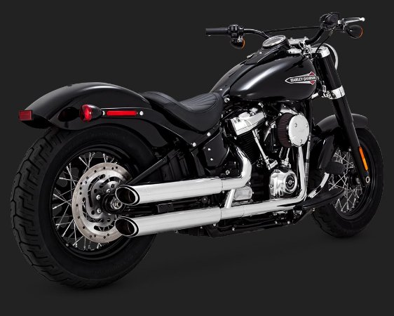 "Vance & Hines 16875 Twin Slash 3"" Chrome para Softail FatBoy/Breakout Milwaukee Eight 2018"