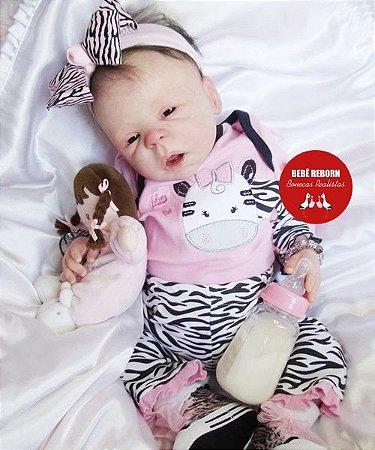 Bebê Reborn Menina Realista Modelo Especial Síndrome De Down Com Lindo Enxoval E Chupeta