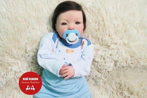 Bebê Reborn Menino Detalhes Reais 43 Cm Bonito E Sofisticado Com Enxoval Completo
