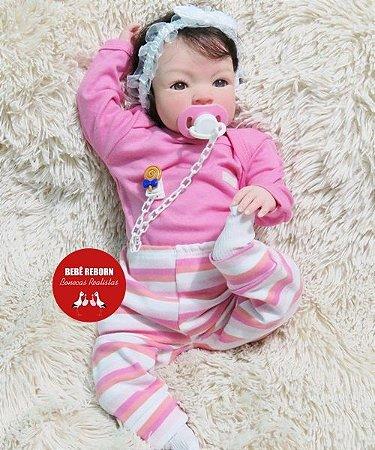 Boneca Bebê Reborn Menina Bebê Quase Real Linda Recém Nascida Com Enxoval E Chupeta