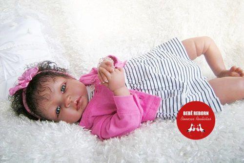 Boneca Bebê Reborn Menina Realista Negra Lindíssima Bebê Recém Nascida Com Enxoval E Chupeta