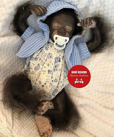Bebê Reborn Animal Macaquinho Muito Fofo Detalhes Reais Ideal Para Presentear Seu Filho