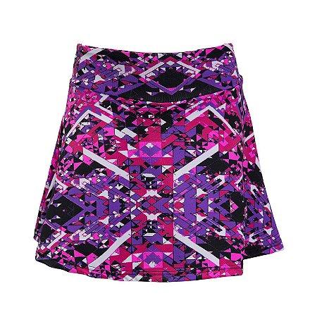 Shorts saia roxo e pink