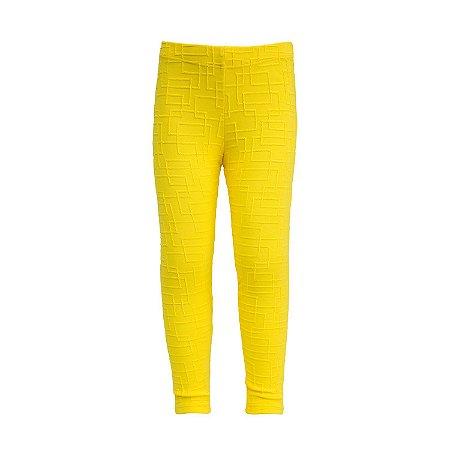 Legging infantil amarela tecido trabalhado