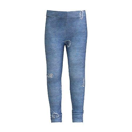 Legging infantil estampa jeans rasgado