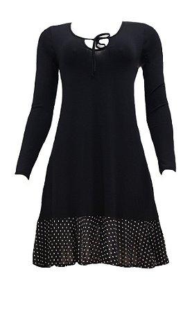 Vestido adulto preto com poá branco