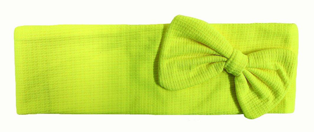 Faixa com laço amarela limão trabalhada