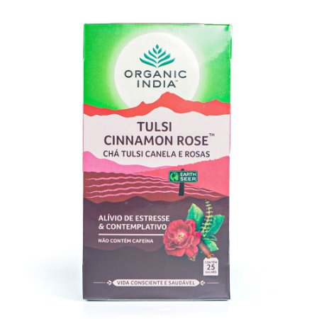 Chá Tulsi Canela e Rosas Tulsi Cinnamon Rose - Organic India