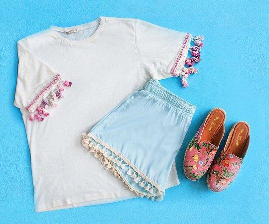 Tshirt branca franjinhas pink