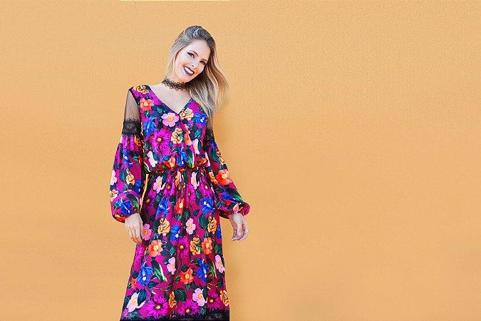 SALE - Vestido longo detalhe tule e renda - estampa floral marsala