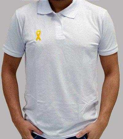 Polo Branca Bordada Maio Amarelo - 100% Algodão