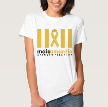 Camiseta Branca Maio Amarelo - Atenção Pela Vida