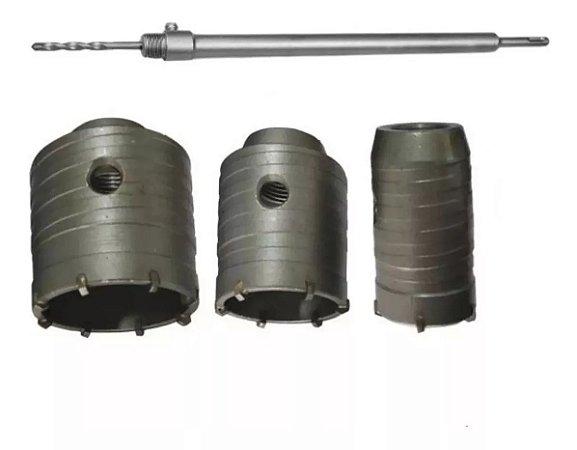 Kit Serra Copo Videa 5 Pç De 45mm A 70mm Haste 25cm Sds Plus