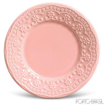 Conjunto de Pratos de Sobremesa com 06 Peças em Cerâmica Madeleine Rosa