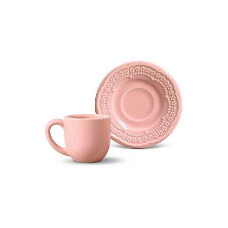 Conjunto de Xicaras de Cafe com 06 Peças em Cerâmica Madeleine Rosa