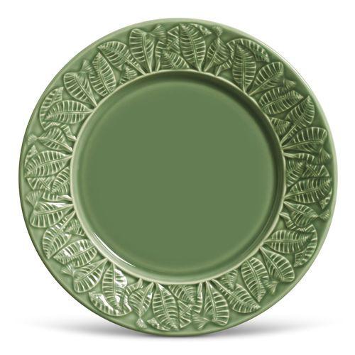 Conjunto de Pratos Rasos com 06 Peças em Cerâmica Leaves Salvia Verde