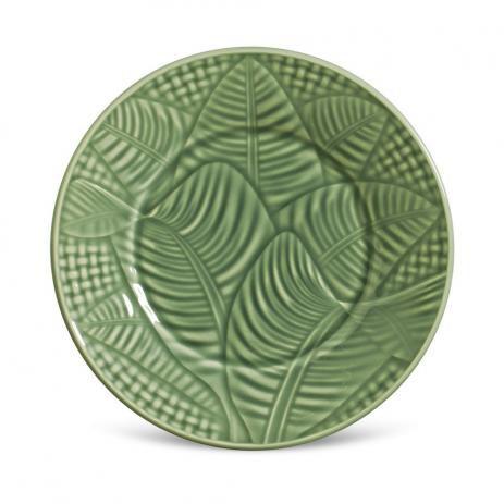 Conjunto de Pratos de Sobremesa com 06 Peças em Cerâmica Leaves Salvia