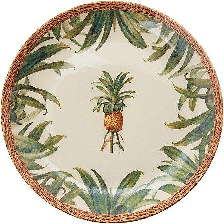 Conjunto de Pratos Raso com 06 Peças em Cerâmica Pineapple