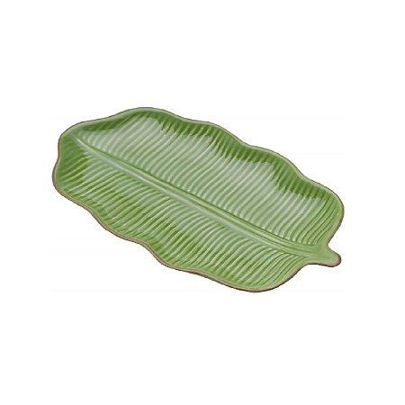 Folha Decorativa de Ceramica Banana Leaf Verde 20x11,5x2,5cm