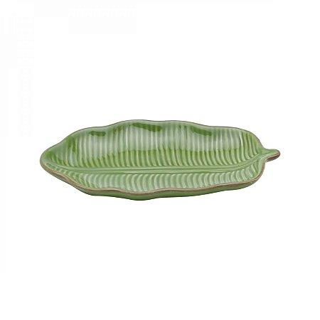 Folha Decorativa de Ceramica Banana Leaf Verde 16x9x2cm