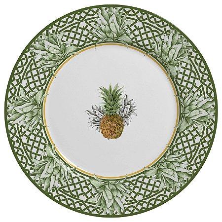 Conjunto de Pratos Rasos com 06 Peças em Cerâmica Pineapple