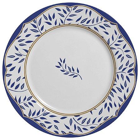 Conjunto de Pratos Rasos com 06 Peças em Cerâmica Branch Azul Marinho
