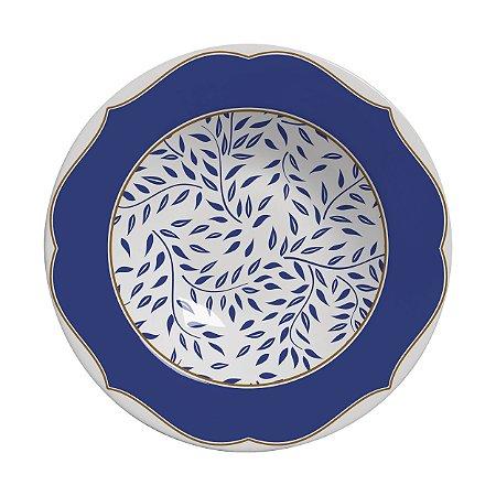 Conjunto de Pratos Fundos com 06 Peças em Cerâmica Branch Azul Marinho