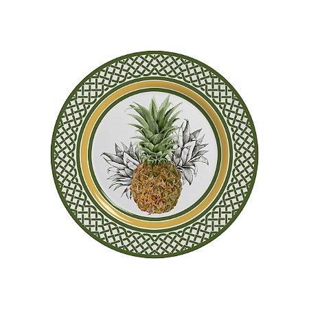 Conjunto de Pratos de Sobremesa com 06 Peças em Cerâmica Pineapple