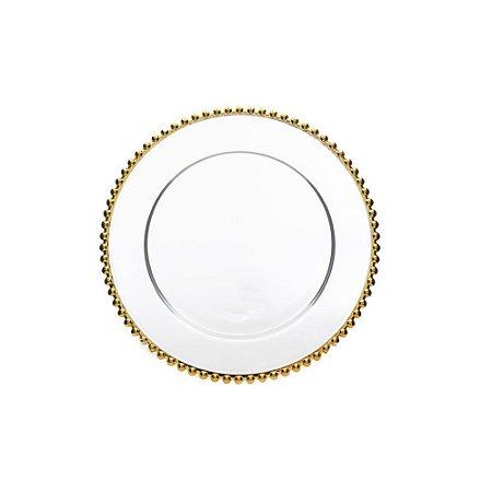 Sousplat em Cristal Pearl Gold 31,5cm